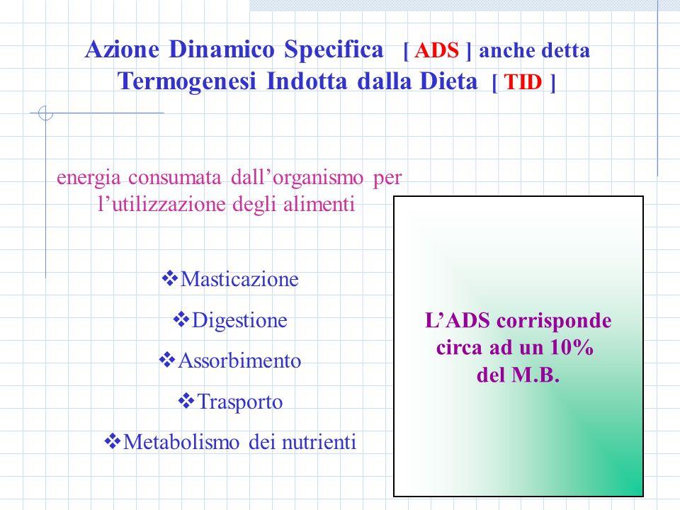Azione Dinamico Specifica [ ADS ] anche detta Termogenesi Indotta dalla Dieta [ TID ]
